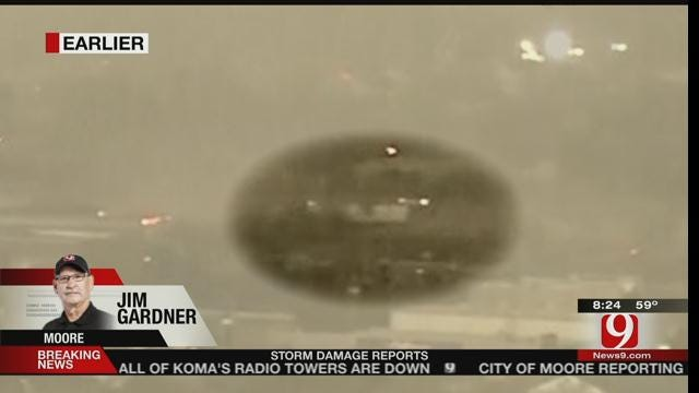 WEB EXTRA: Semi Overturns in Moore Tornado