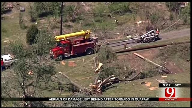 Aerials Of Damage Left Behind After Tornado In Quapaw