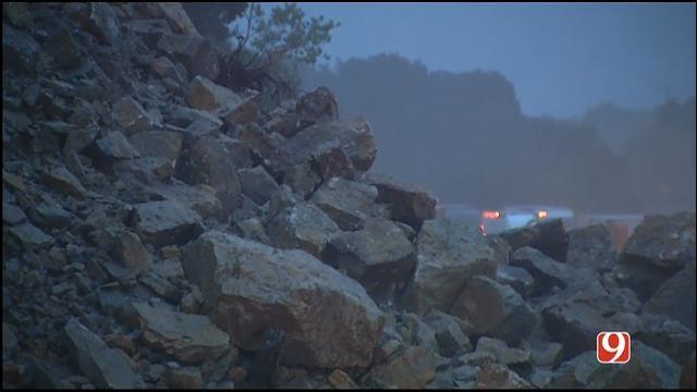 WEB EXTRA: Rocks Falling Onto I-35 In Murray County