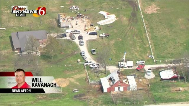 Osage SkyNews 6 HD Flies Over Afton Area Tornado Damage