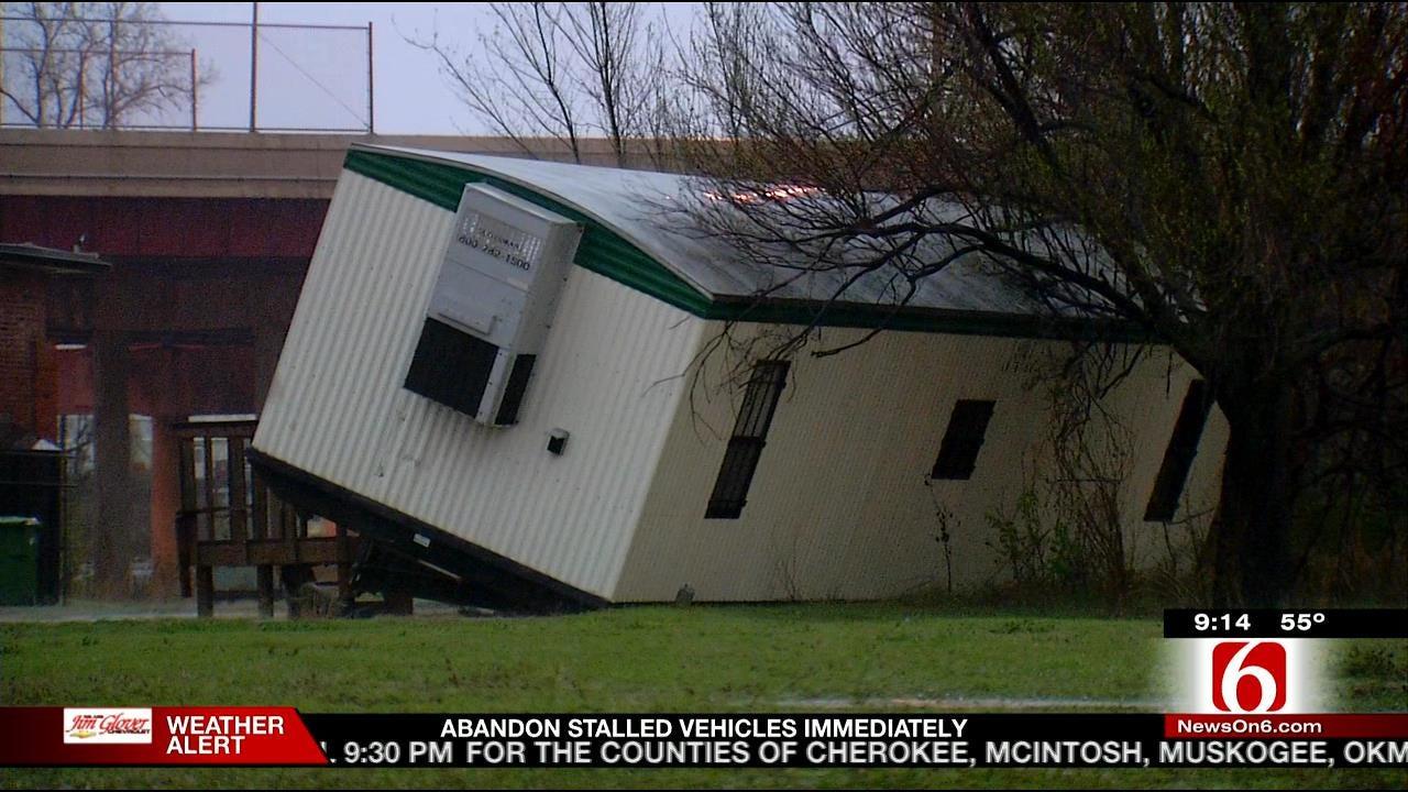 WEB EXTRA: Storms Threaten News On 6, Downtown Tulsa