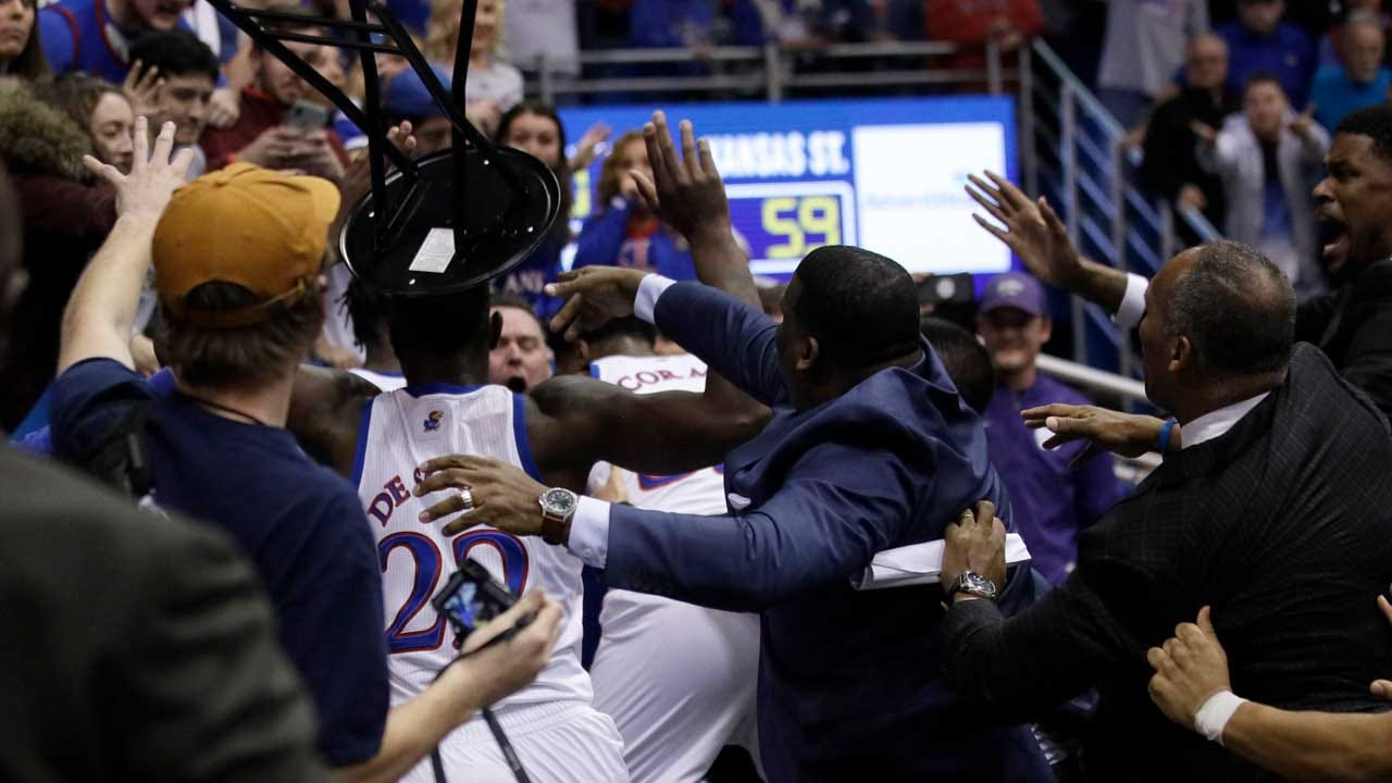 Kansas Basketball Coach Bill Self Comments On Post Game Brawl