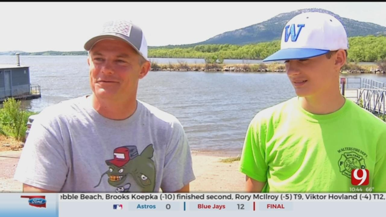 Father-Son Duo Compete In 20th Annual Okie Noodling Contest