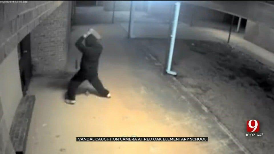 Vandal Caught On Camera At Moore Elementary School