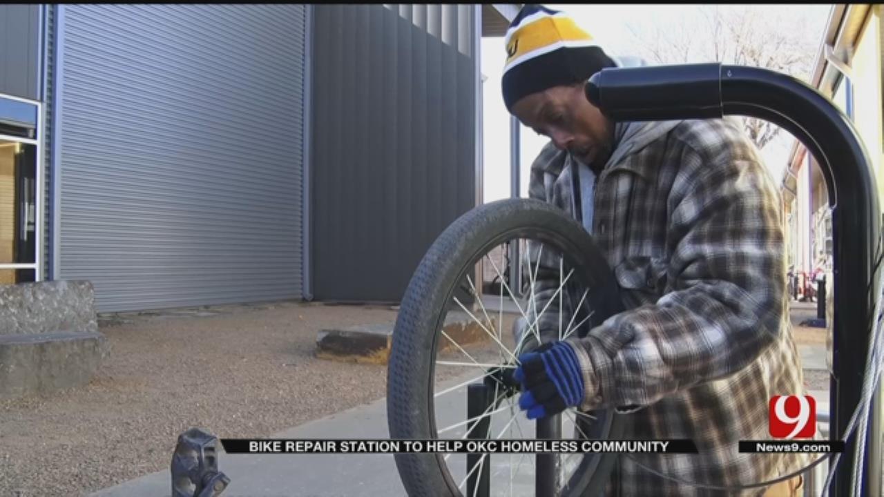 OKC Non-Profit Installs New Self-Serve Bike Repair Station For Homeless