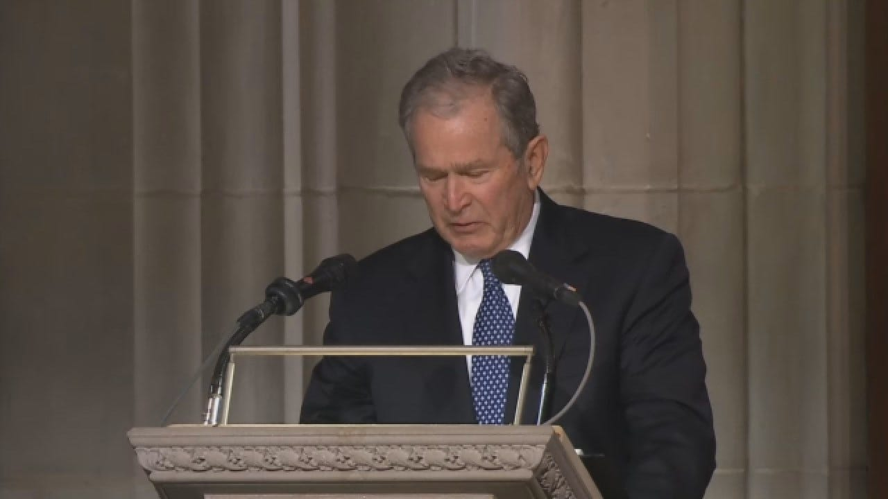 President George W. Bush Becomes Emotional While Eulogizing Father