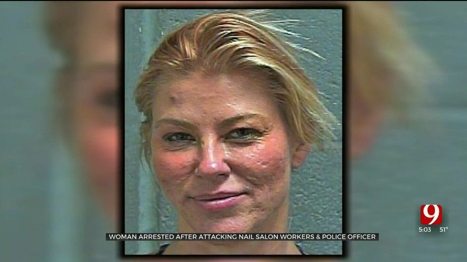 Woman Arrested, Accused Of Attacking Workers, Officer At OKC Nail Salon