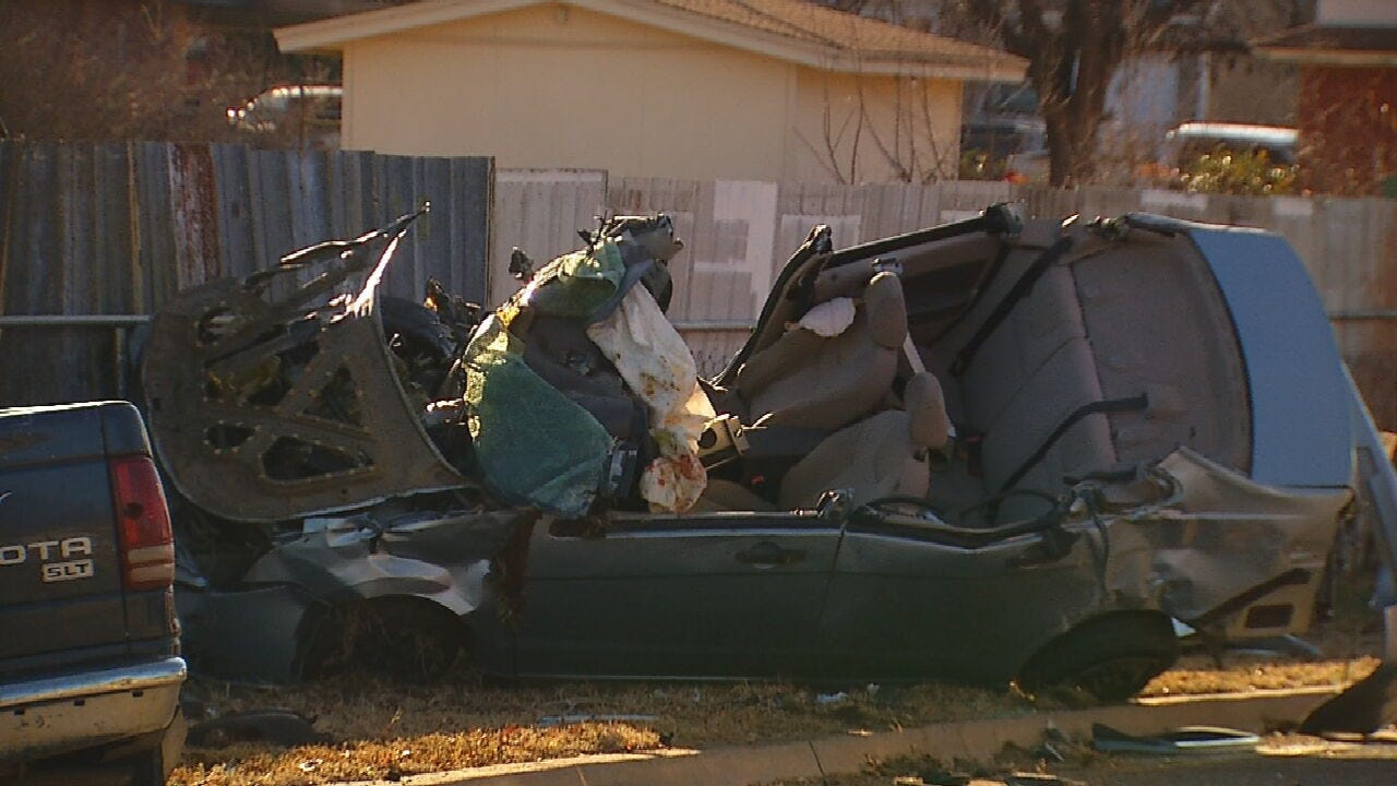 3 Injured In Rollover Crash In OKC Neighborhood