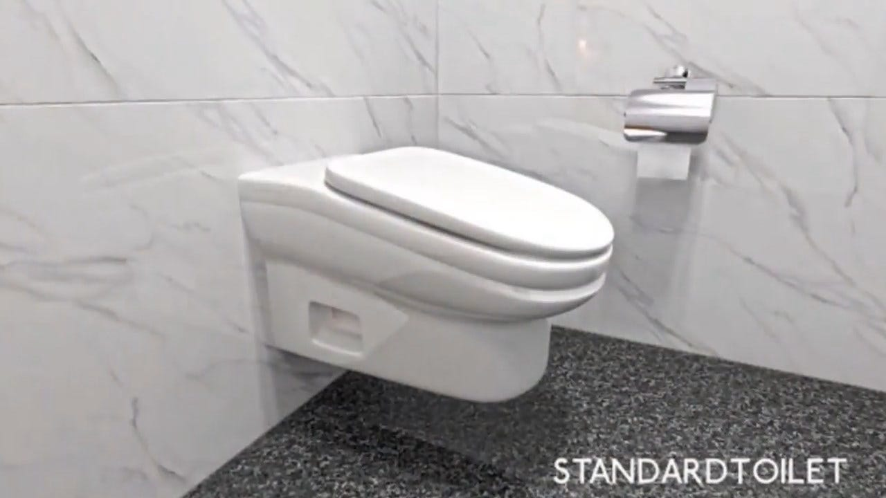 Downward Tilting Toilet Is Designed To Shorten Your Bathroom Break