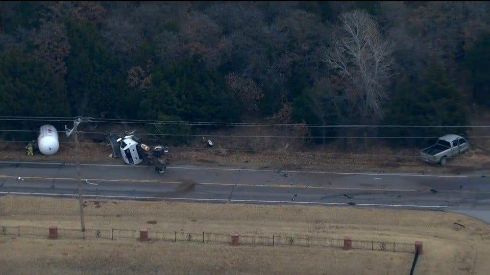 Bob Mills SkyNews 9 Flies Over Crash Involving Propane Truck In NE OKC