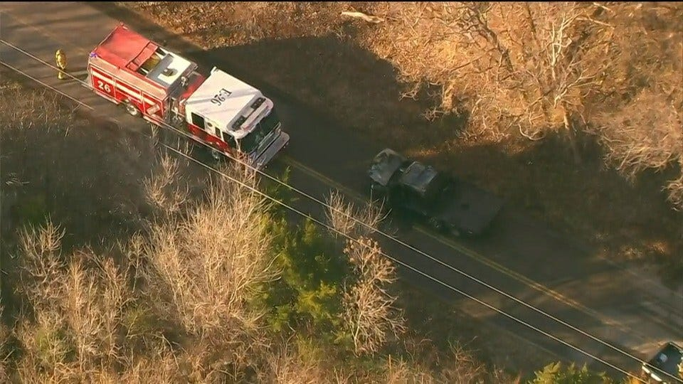 Suspect Pursuit Ends In Crash, Vehicle Fire In Mustang