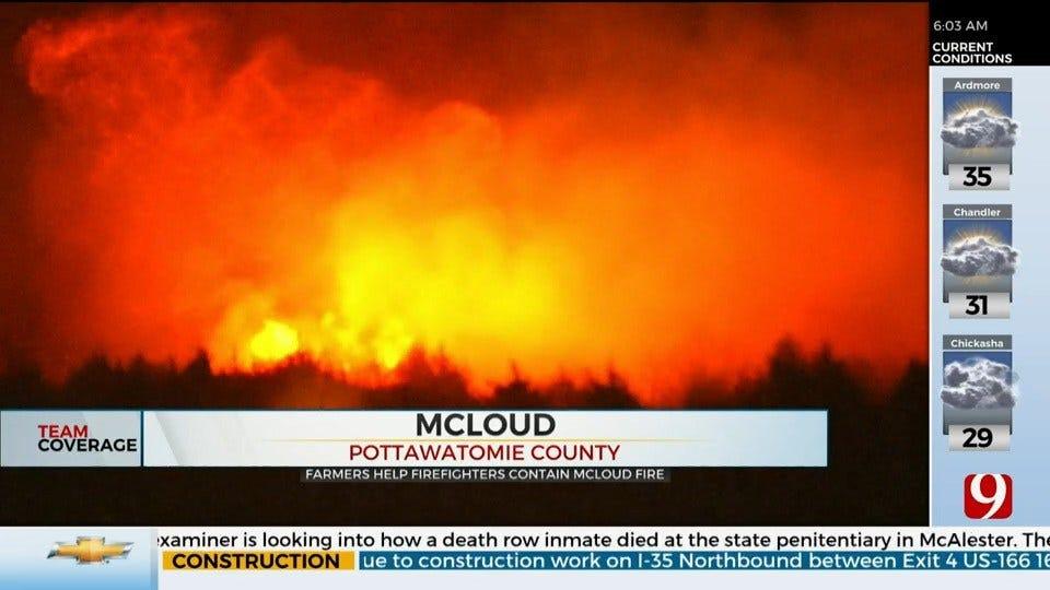 Farmers Join Firefighters In Battling Large McLoud Grass Fire