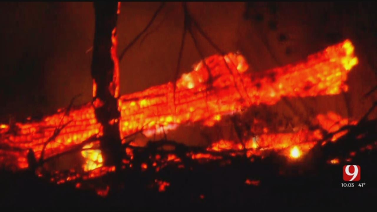 Multiple Fire Crews Battle Large Fire Near McLoud