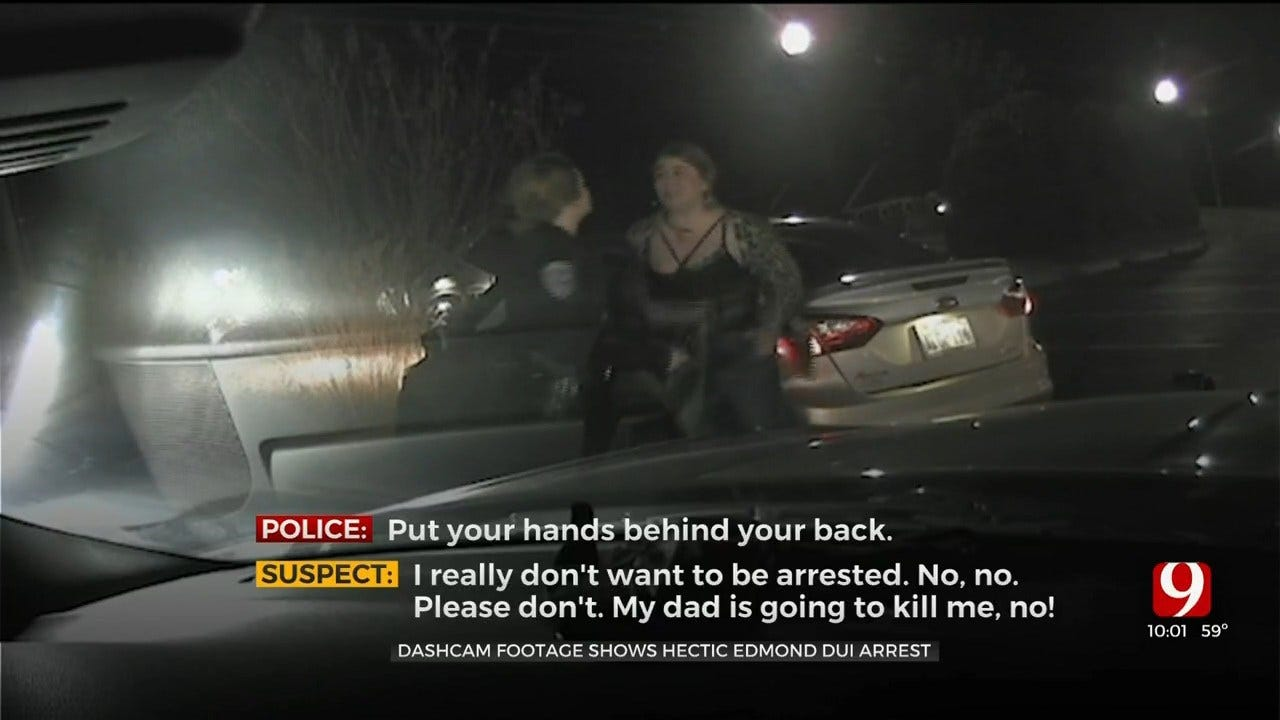 WATCH: Dashcam Video Shows Woman Scuffling With Officer During DUI Arrest In Edmond