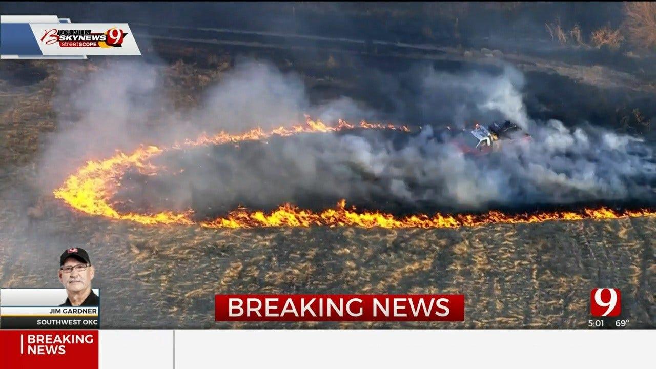 Grass Fire Burns Near Mustang