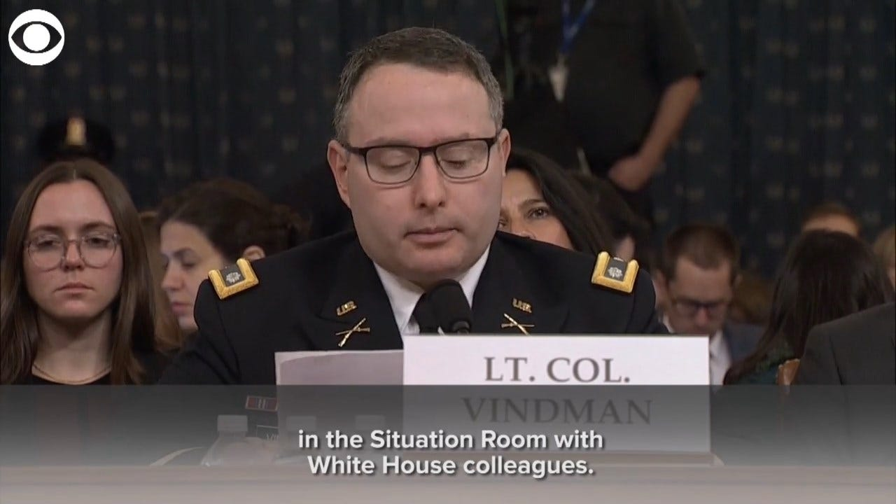 Lt. Col. Vindman On Trump's Call: 'What I Heard Was Inappropriate'