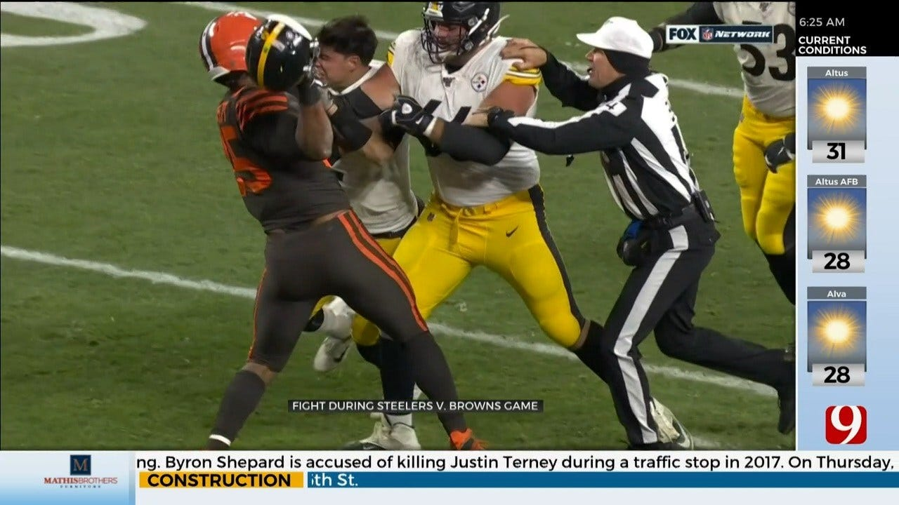 Browns Star Hits Steelers Quarterback With Helmet, Sparks Brawl