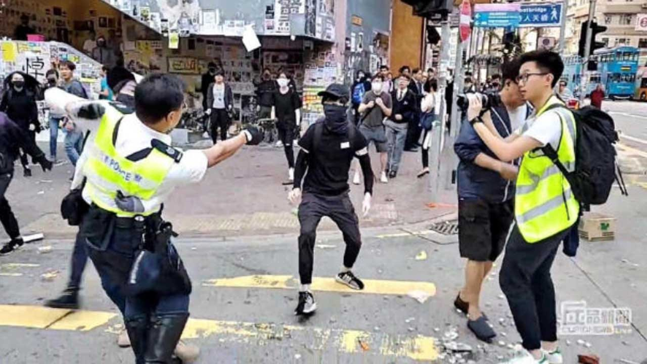 Video Shows Hong Kong Protester Shot By Police Officer, Another Set On Fire