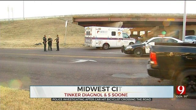 Bicyclist Taken To Hospital After Being Hit By Vehicle In Midwest City