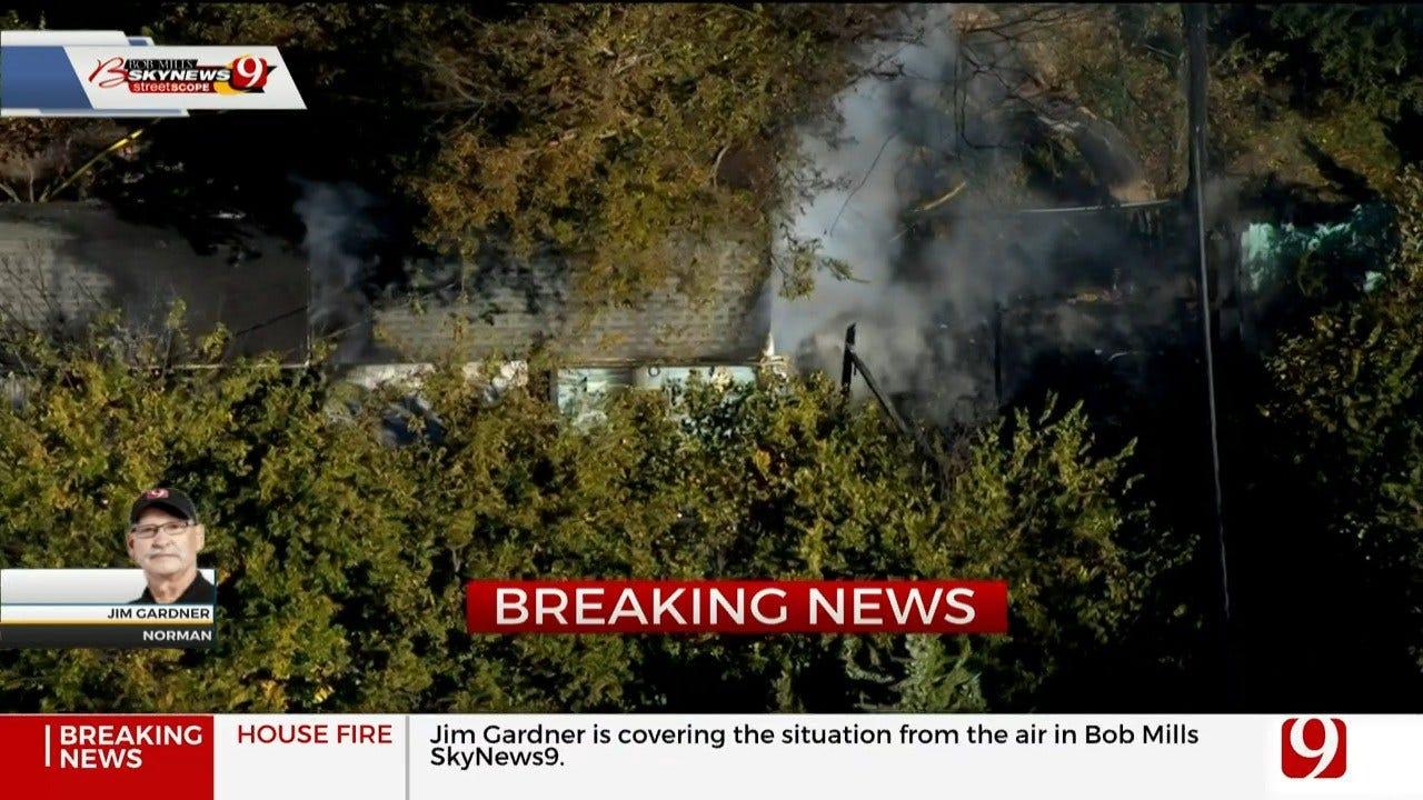 Firefighters Battle House Fire In Norman