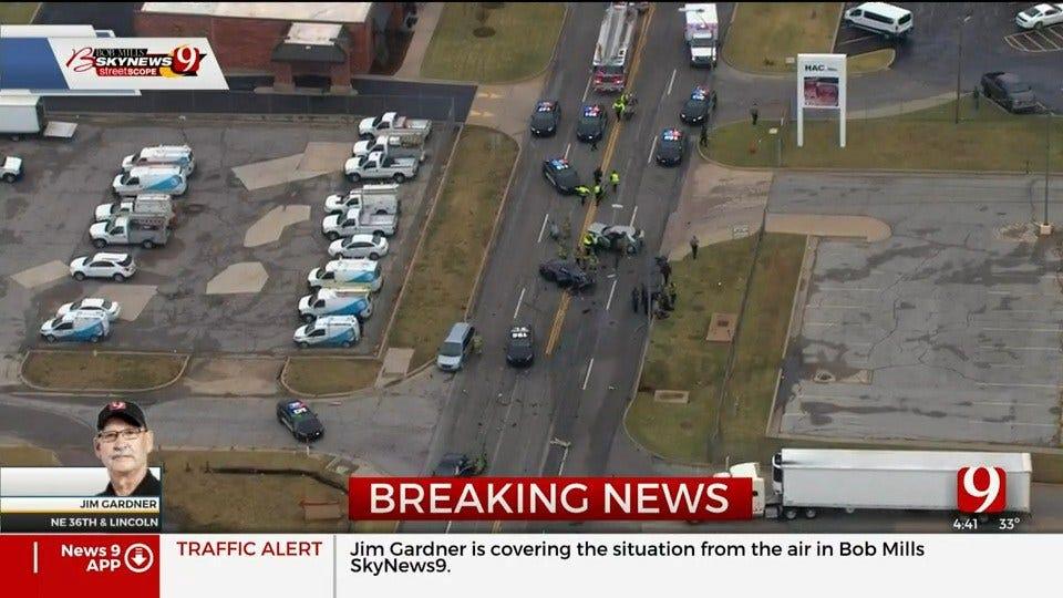 Multiple Vehicles Involved In A Crash In NE OKC