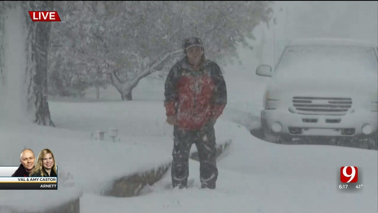 WATCH: Early Snowstorm Hits NW Oklahoma (Look At Val!)