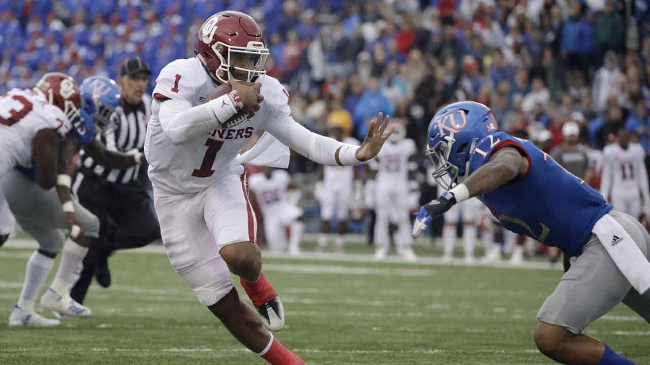 Hurts Provides 4 TDs As No. 6 Sooners Beat Jayhawks, 45-20