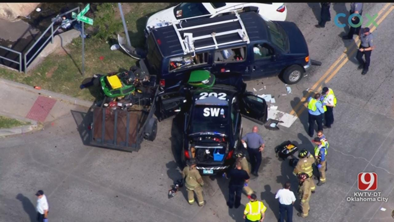 WATCH: Bob Mills SkyNews 9 Flies Over Officer-Involved Crash In SW OKC