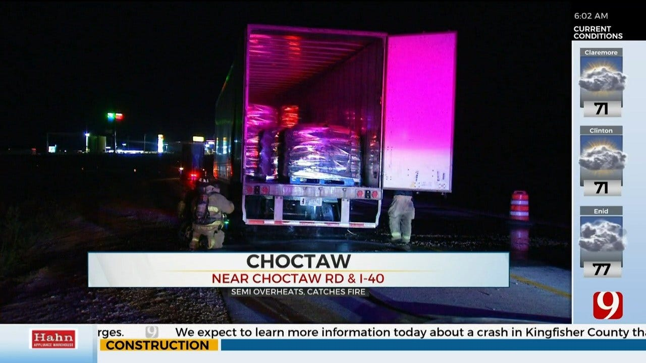 Semi-Truck Overheats, Catches Fire On I-40