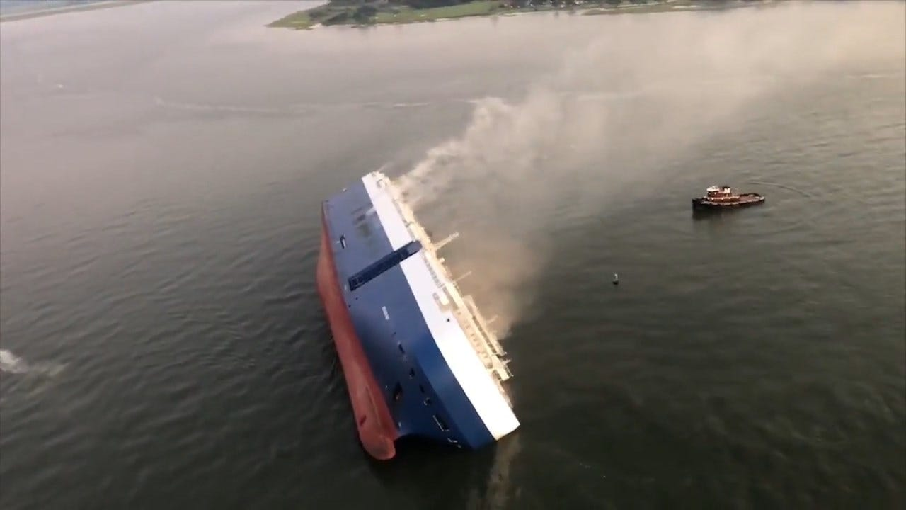 WATCH: Aerials After Cargo Ship Overturns Near Georgia Port, 4 Crew Members Missing