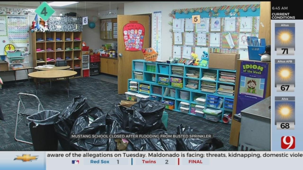 Mustang Elementary School Closed After Flooding From Busted Sprinkler