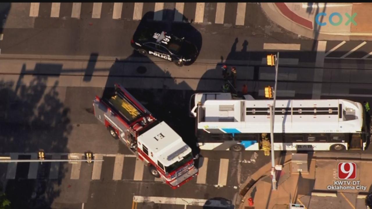 WATCH: Bob Mills SkyNews 9 Flies Over Accident Involving OKC Bus
