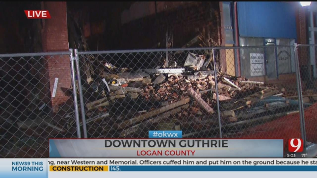 WATCH: Overnight Storms Cause More Damage To Burned Businesses In Guthrie