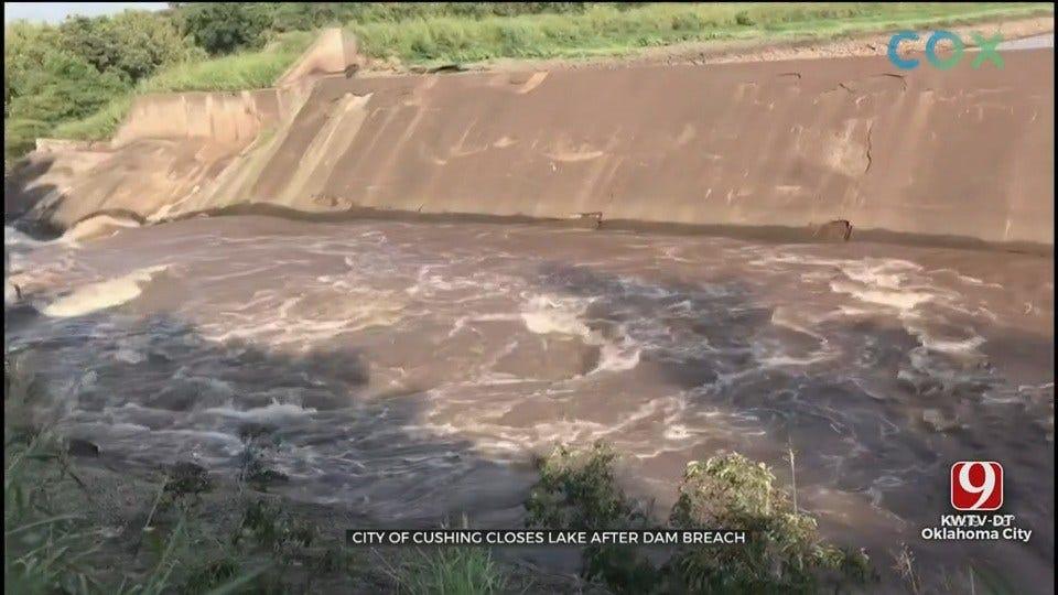 Cushing Lake Closed As City Officials Monitor Dam Breach