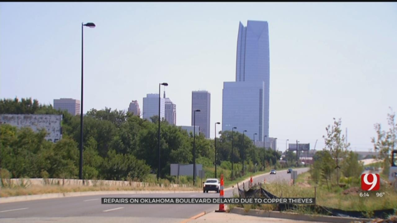 OKC Boulevard Open But Construction Not Complete Due To Thieves