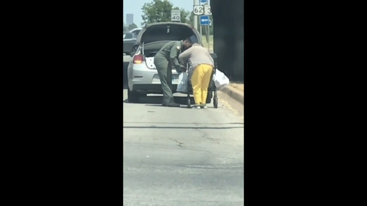 WATCH: Tinker Airman Helps Elderly Woman With Groceries In 101-Degree Heat