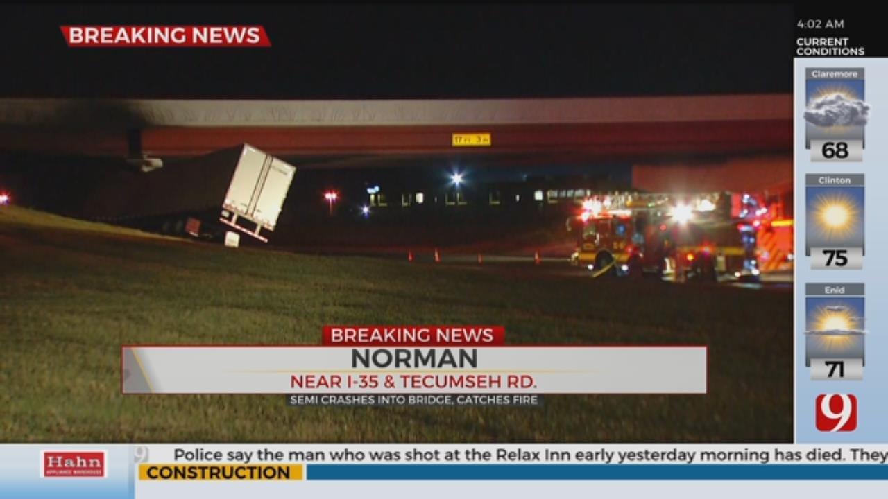 Semi-Truck Crashes Into Bridge, Catches Fire On Northbound I-35