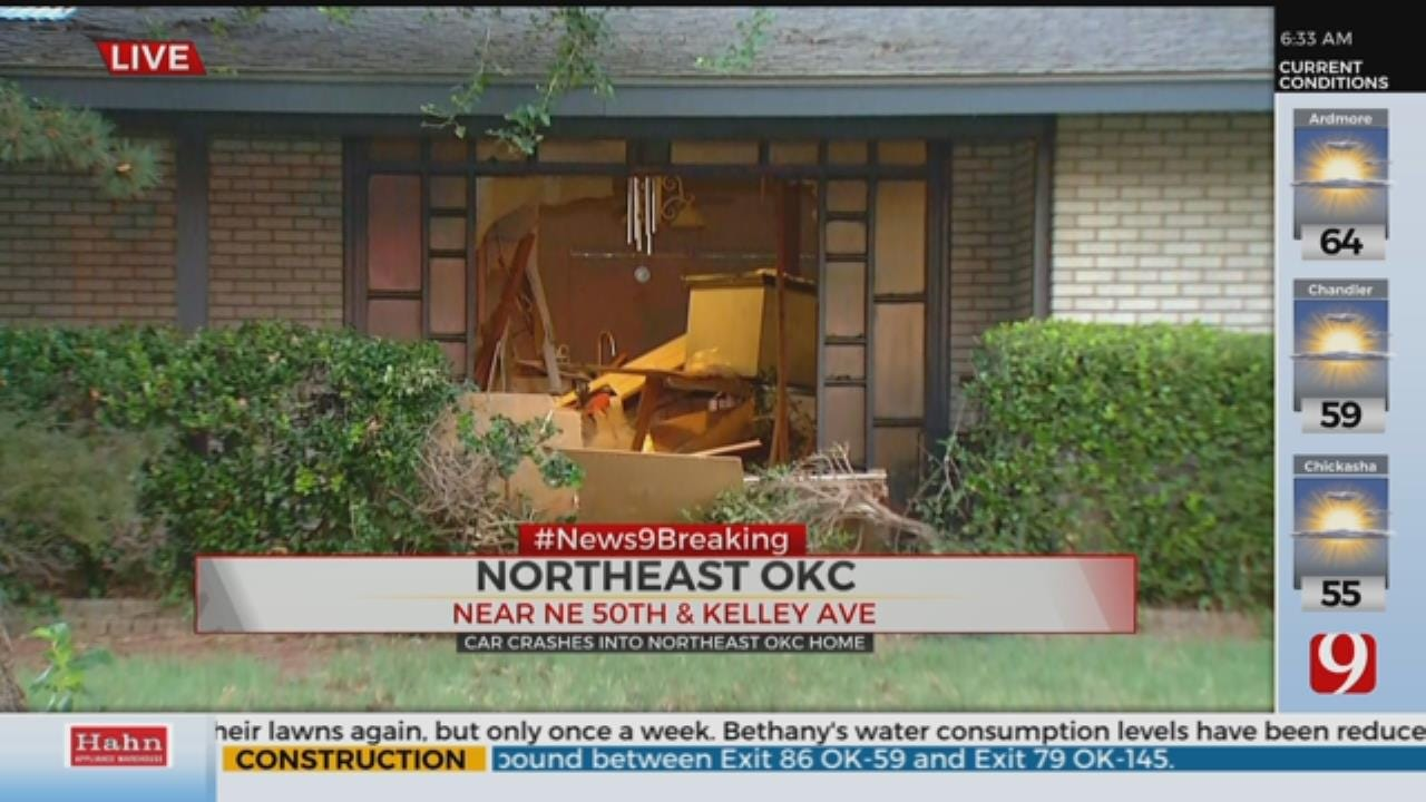 Driver Crashes Car Into Front Of NE OKC Home