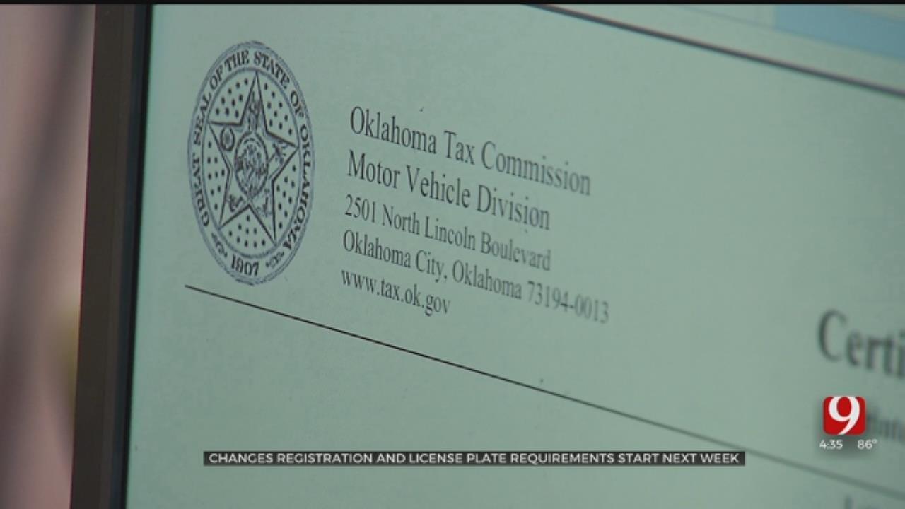 Registration, License Plate Requirement Changes Start Next Week