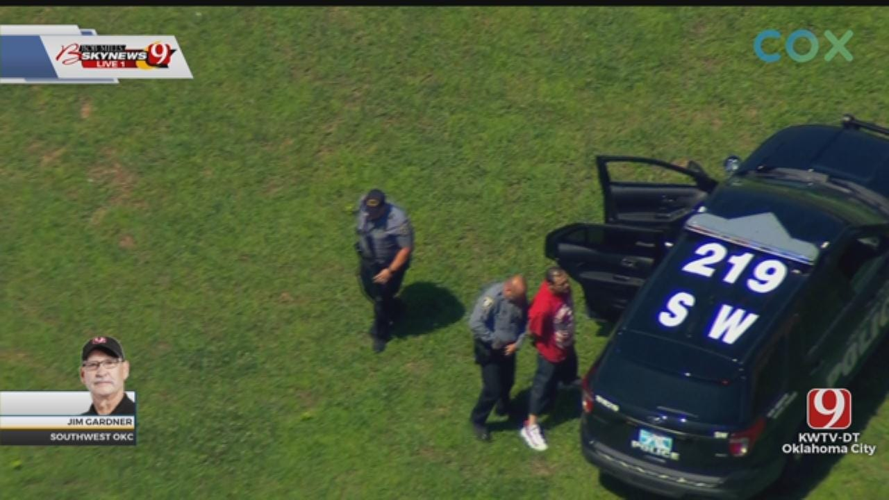 WATCH: Suspect Surrenders After Slow-Speed Chase In SW OKC
