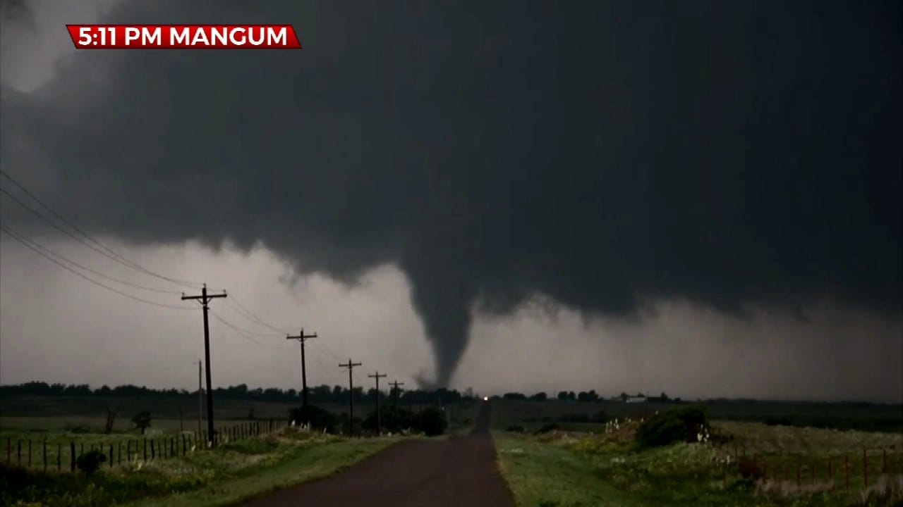 CAUGHT ON CAMERA: A Large Funnel Drops Down Near Mangum