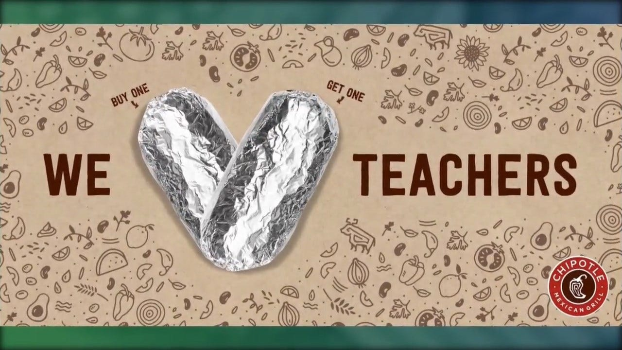 Chipotle Offers Deal Fro Teacher Appreciation Week