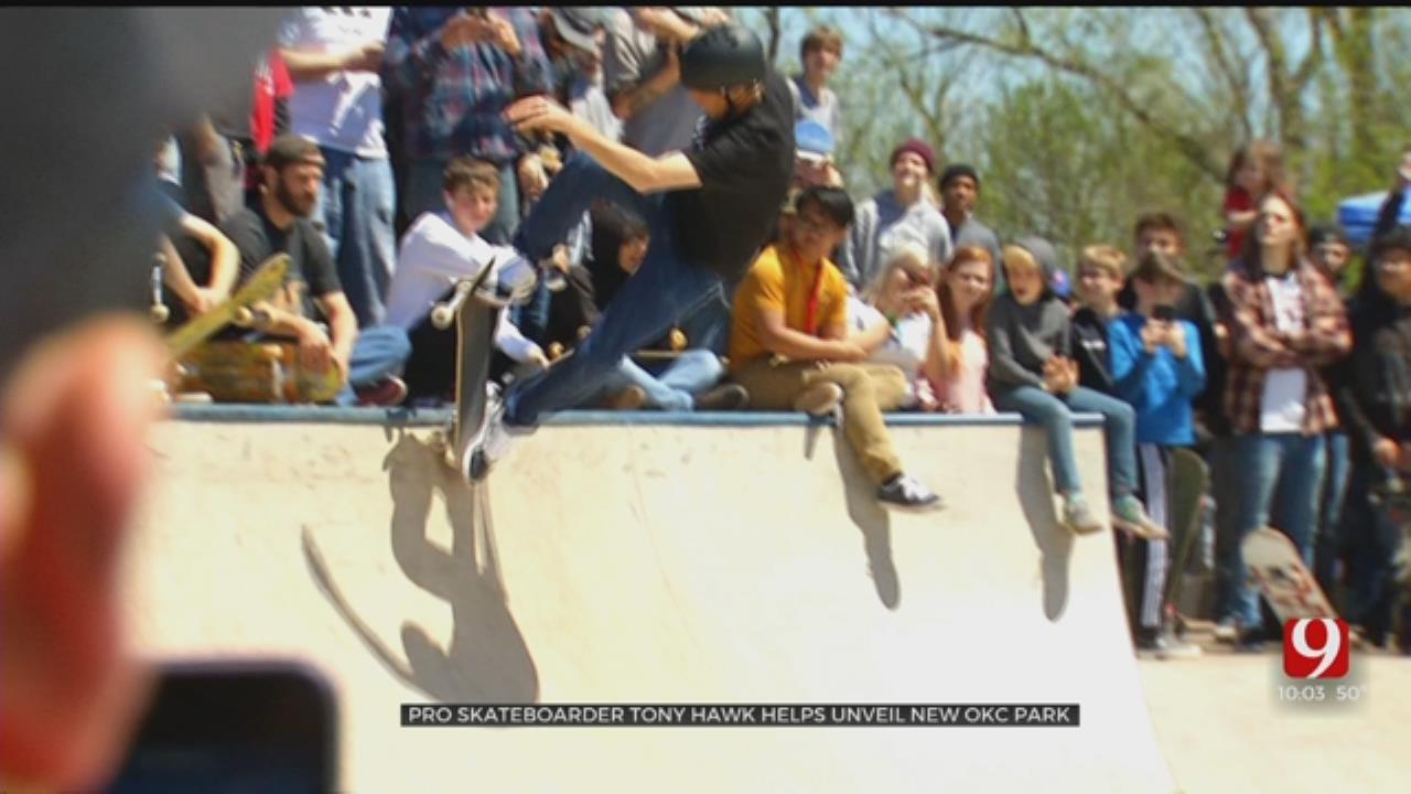 Tony Hawk Helps Break In Newest OKC Skate Park