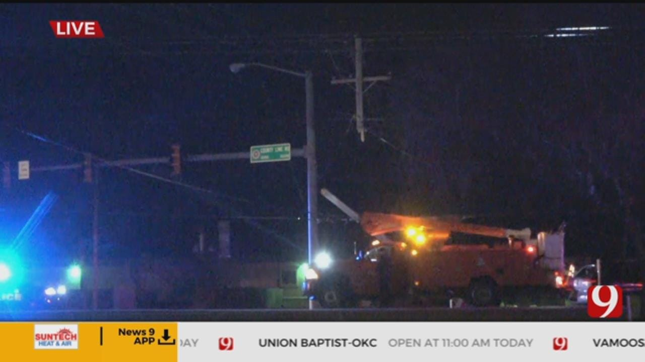 Bobby Payne Reports: Crash In NW OKC Snaps Power Pole
