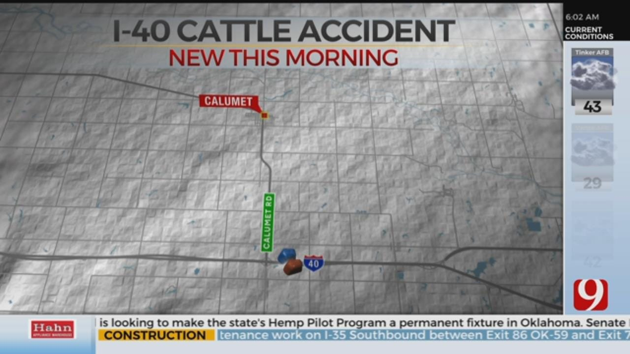 I-40 Reopens After Accident Involving Semi Truck, Cattle