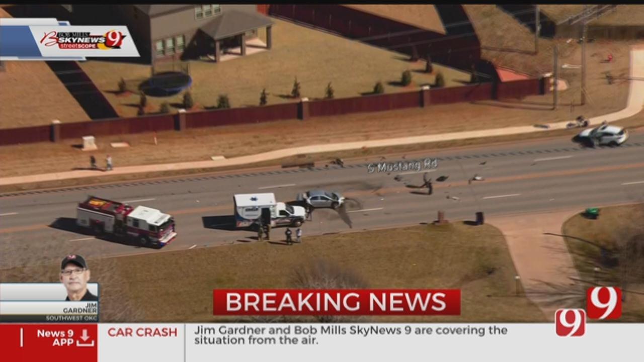 WATCH: Bob Mills SkyNews 9 Above Crash Near SW 44th, Mustang Road