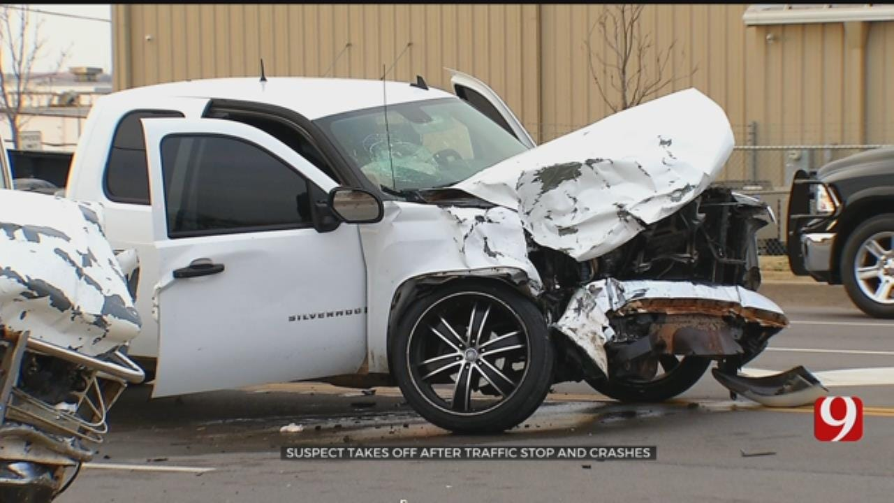 OKC Police Pursuit Ends In Head-On Crash; Suspect In Custody