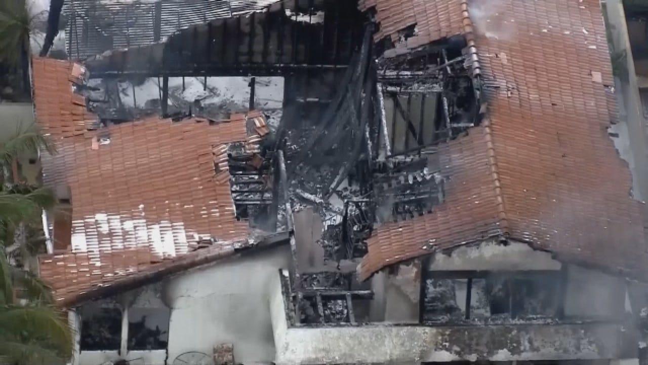 Aerial Images Capture Aftermath Of Plane Crash That Killed 2