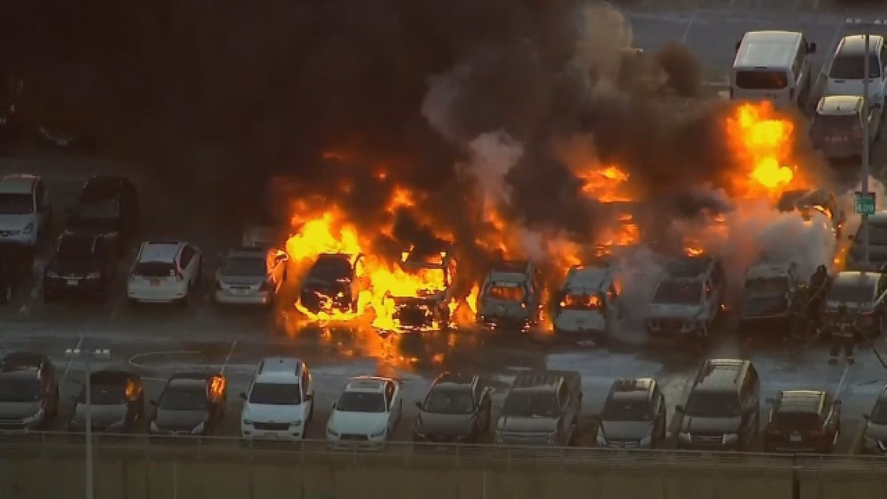 Newark Airport Parking Garage Fire Damages Numerous Vehicles