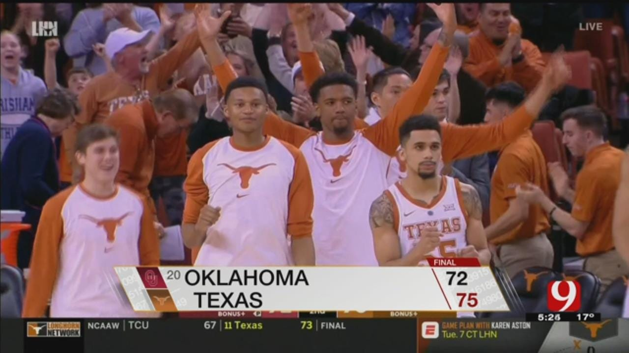 Roach Leads Texas Over No. 20 Oklahoma 75-72